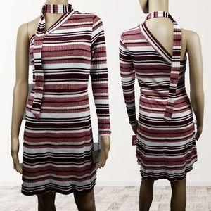 🔴SALE🔴 K/Lab Wine Stripe Tie Neck One Shoulder